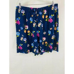 Analogy Blue Colorful Floral Short Flowy